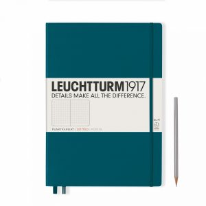 notebook-master-slim-a4-hardcover-121-numbered-pages-dotted-pacific-green