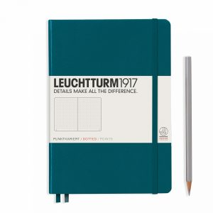 notebook-medium-a5-dottedhardcover-251-numbered-pages-pacific-green