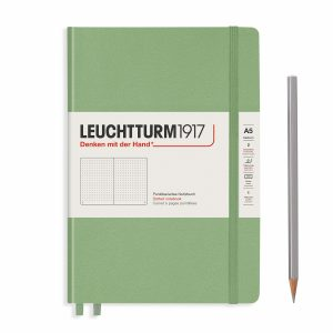 notebook-medium-a5-hardcover-251-numbered-pages-sage-dotted