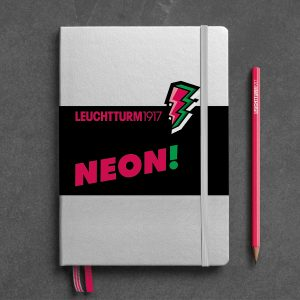 notebook-medium-a5-hardcover-251-numbered-pages-silver-neon-pink-dotted
