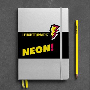 notebook-medium-a5-hardcover-251-numbered-pages-silver-neon-yellow-dotted